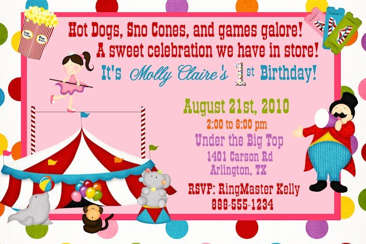 Carnival Invitation Template Free Fresh Free Printable Circus themed Birthday Party Invitations