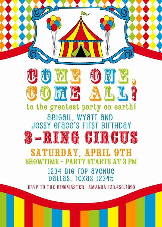 Carnival Invitation Template Free Fresh Items Similar to Printable Invitation Design 3 Ring