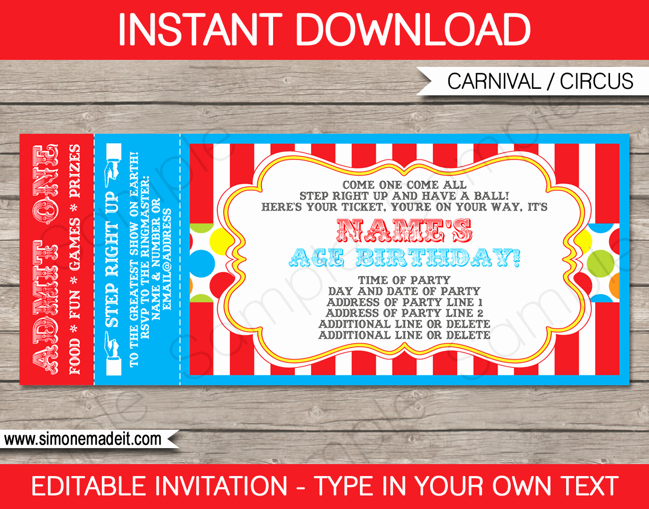Carnival Invitation Template Free Lovely Carnival Ticket Invitation Template