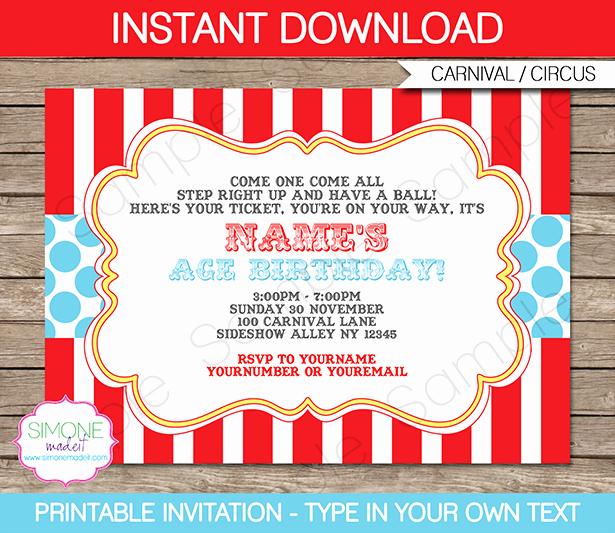Carnival Invitation Template Free Luxury Circus Invitation Template Red Aqua