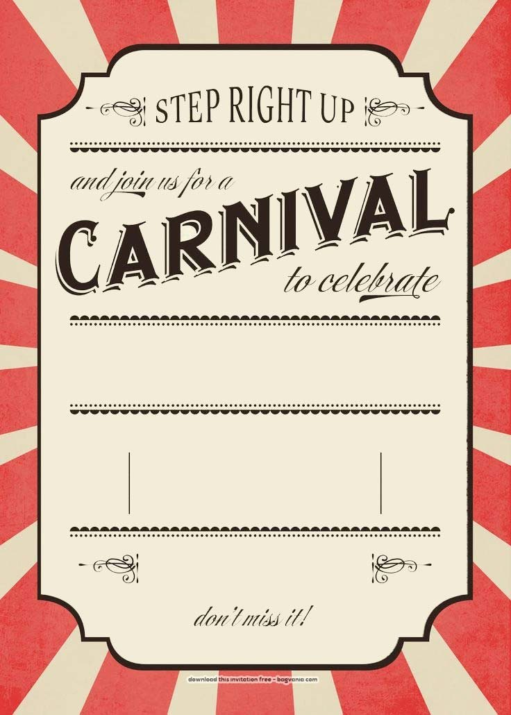 Carnival Invitation Template Free New Free Carnival Birthday Invitations – Free Printable