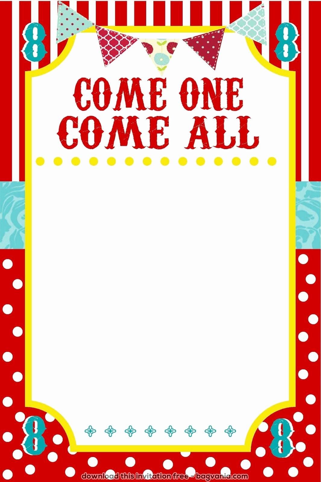 Carnival Invitation Template Free Unique Free Carnival Birthday Invitations – Free Printable