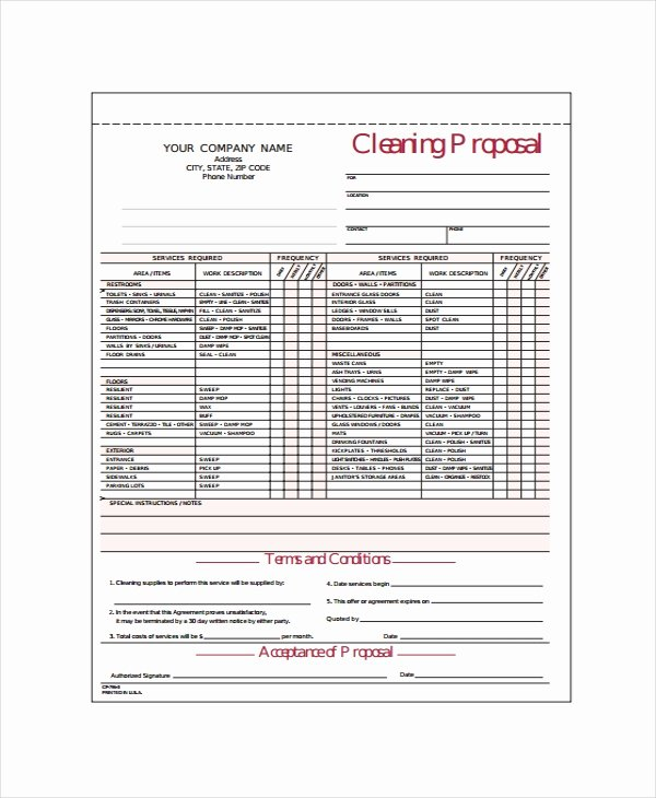 Carpet Cleaning Estimate Template Awesome 14 Cleaning Proposal Templates Word Pdf