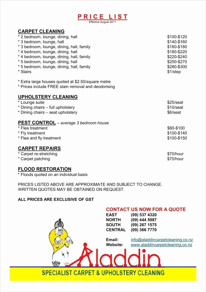 Carpet Cleaning Estimate Template Elegant 8 Cleaning Price List Templates Free Word Pdf Excel