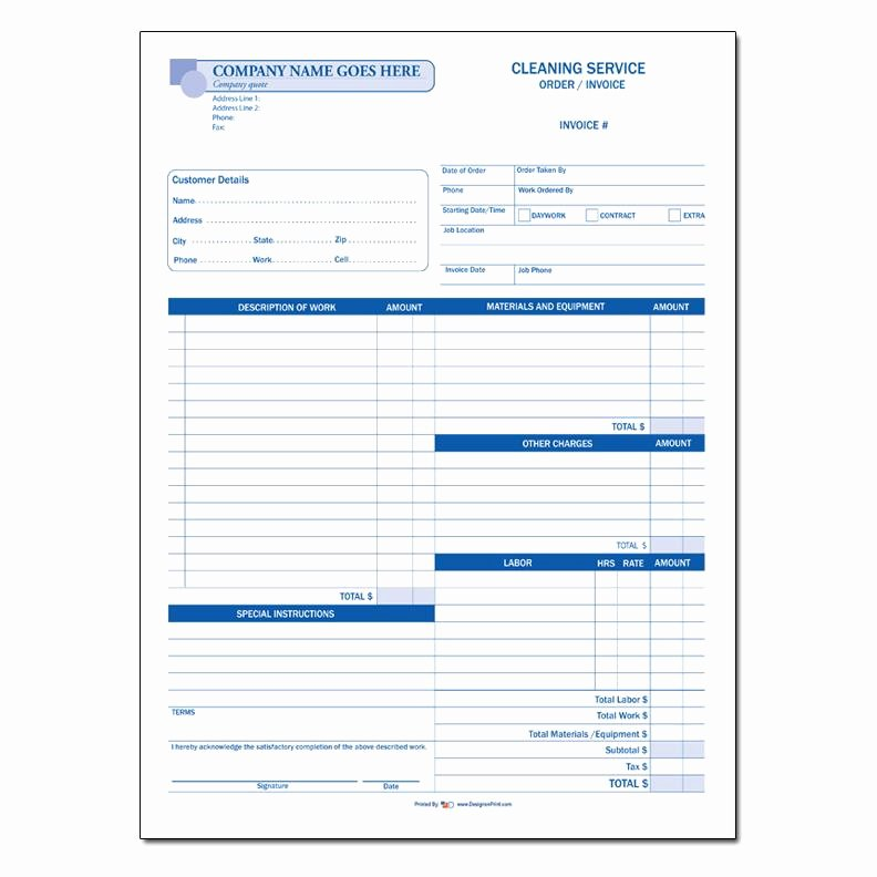 Carpet Cleaning Estimate Template Luxury Cleaning Service Invoice