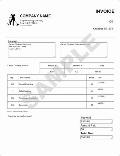 carpet invoice templates free
