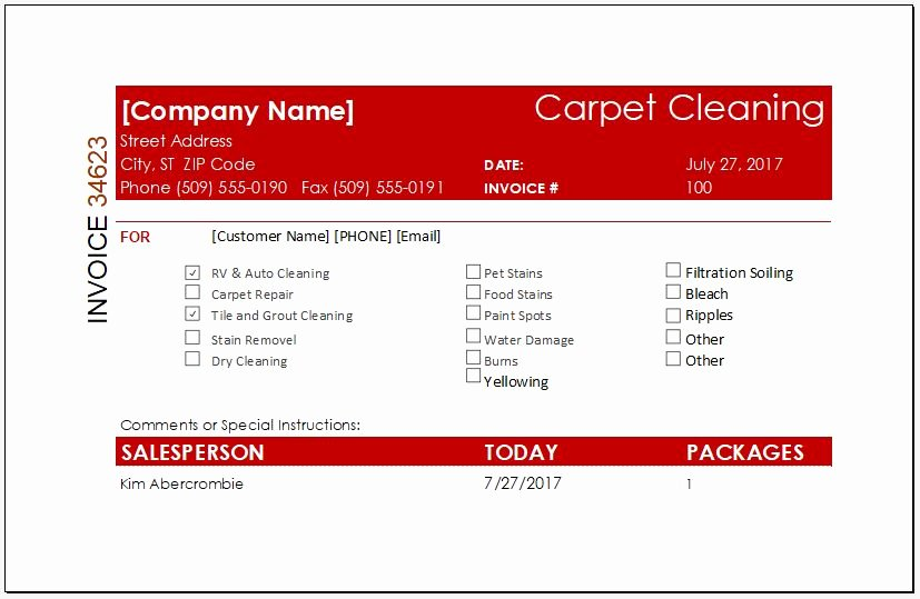 Carpet Cleaning Invoice Template Lovely Service Invoice with Deposit Deduction