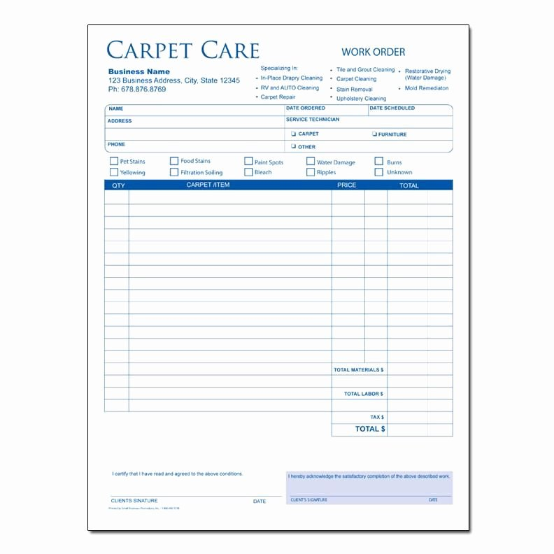 Carpet Cleaning Invoice Template New Carpet Cleaning Invoice form