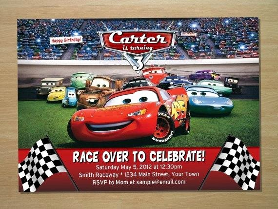 Cars Birthday Invitation Template Awesome Disney Cars Birthday Invitation Digital File by