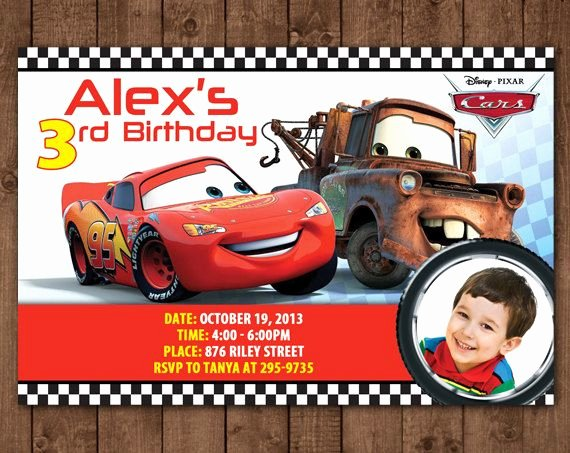 Cars Birthday Invitation Template Awesome Personalized Disney Cars Lightning Mcqueen tow Mater Diy