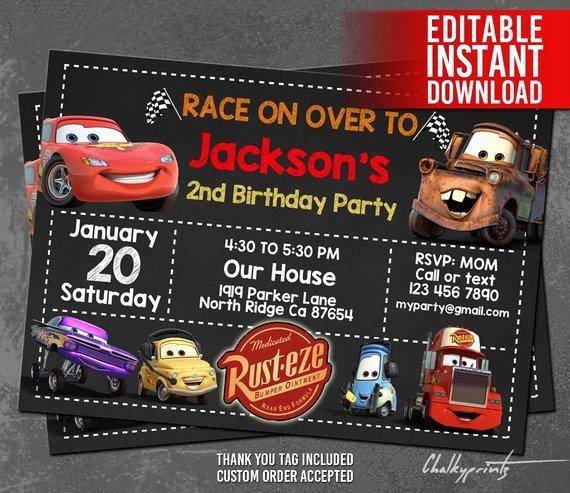 Cars Birthday Invitation Template Best Of Disney Cars Invitation Instant Download Disney Cars Birthday