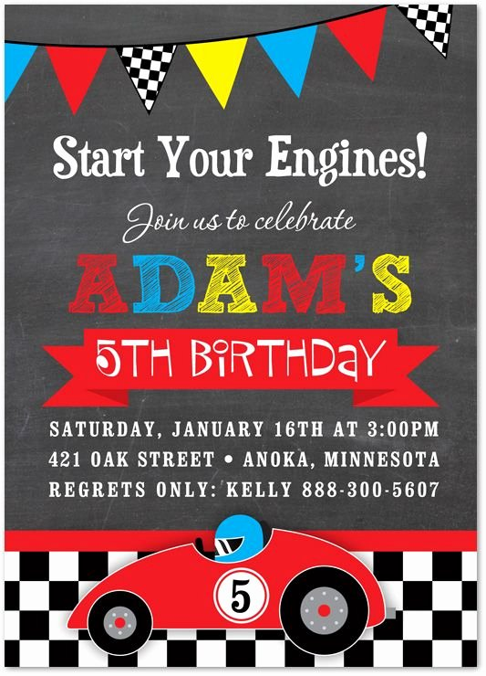 Cars Birthday Invitation Template Fresh Boy Birthday Invitations Red Race Car Chalkboard Birthday