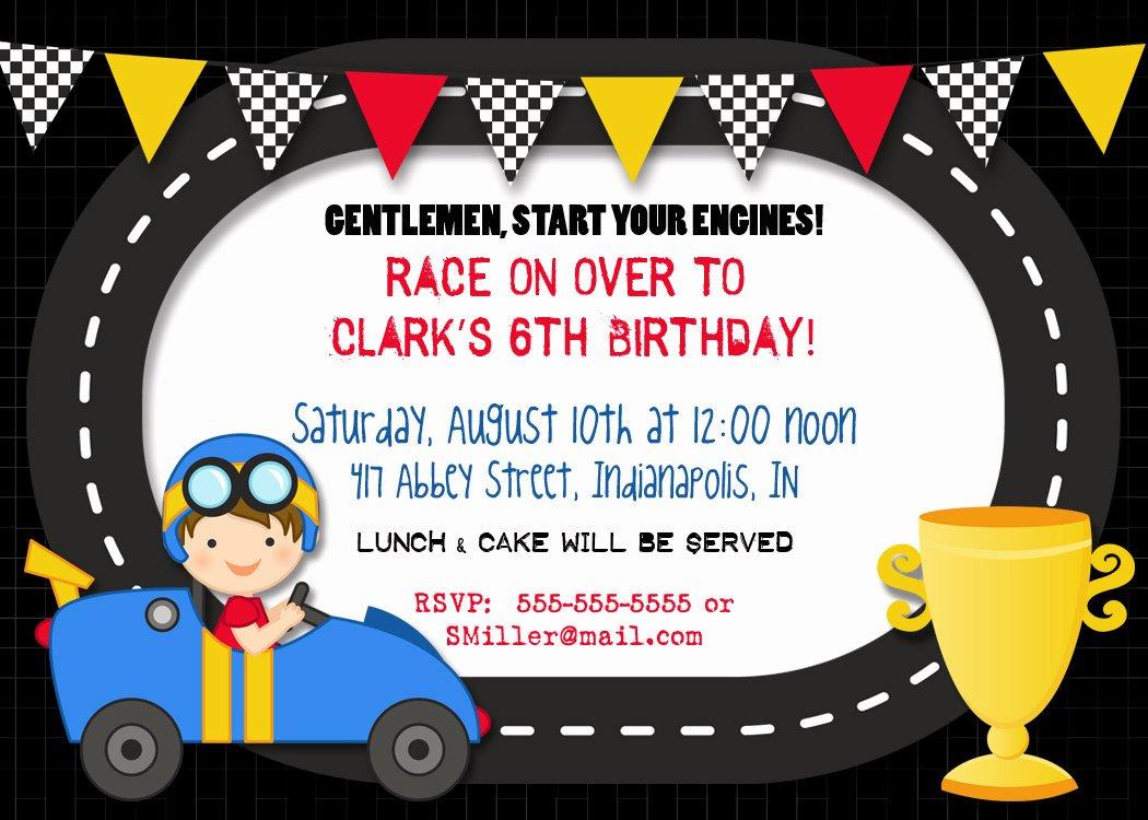 Cars Birthday Invitation Template Inspirational Race Car Birthday Party Invitations