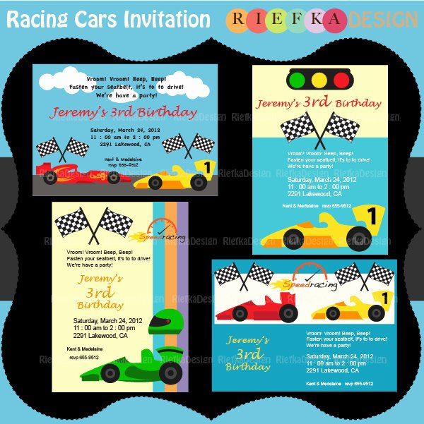 racing cars invitation race cars invites