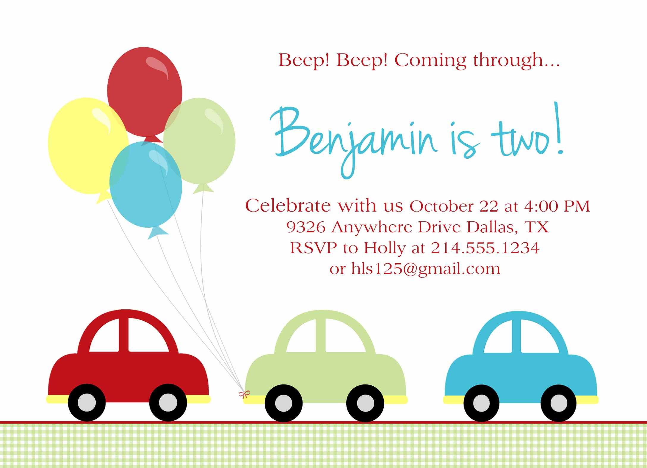 Cars Birthday Invitation Template Unique Car Birthday Party
