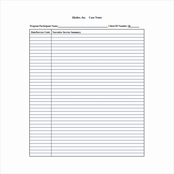 Case Management Notes Template Elegant Case Notes Template – 7 Free Word Pdf Documents Download