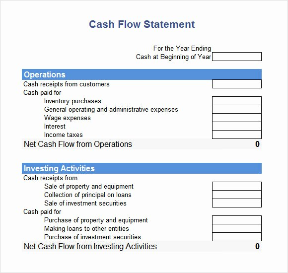 Cash Flow Excel Template Awesome 7 Cash Flow Statement Samples Examples Templates