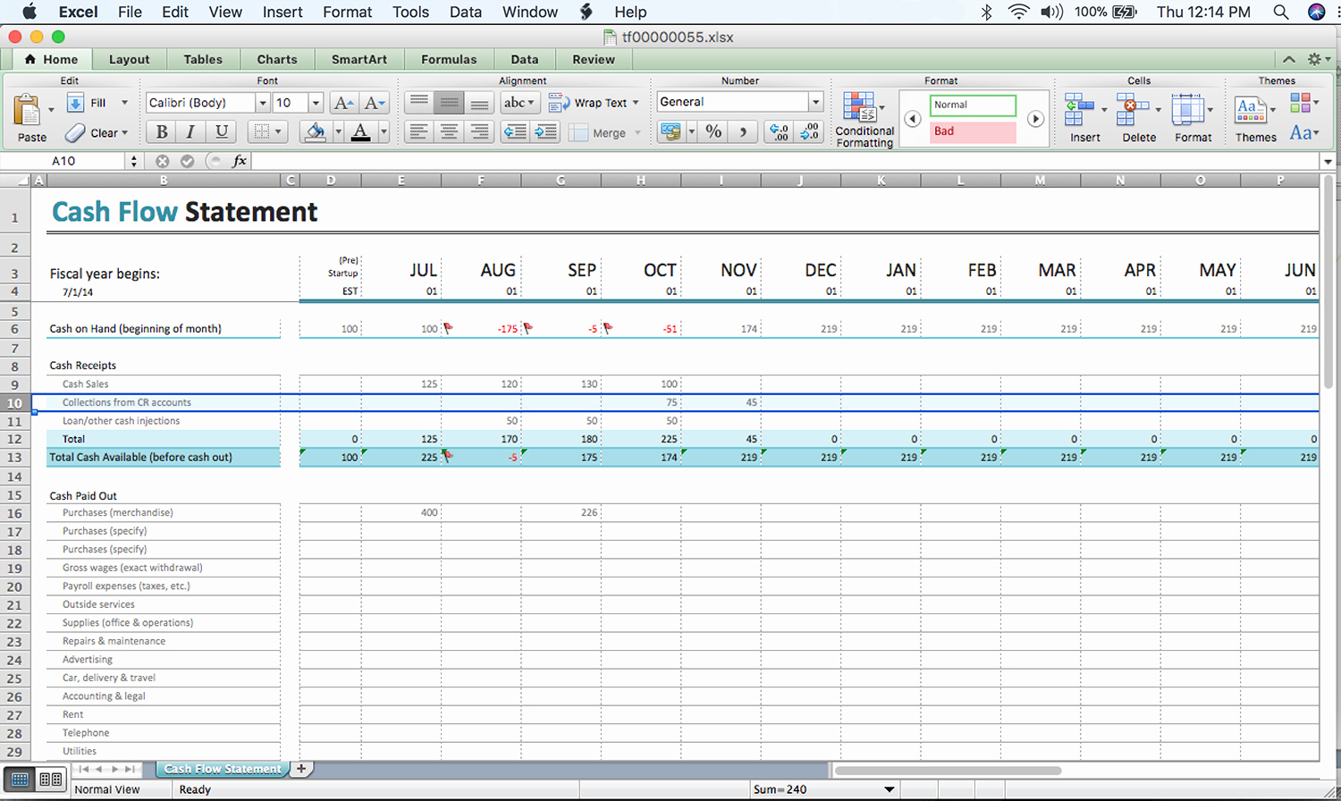 Cash Flow Excel Template Best Of A Beginner's Cash Flow forecast Microsoft's Excel