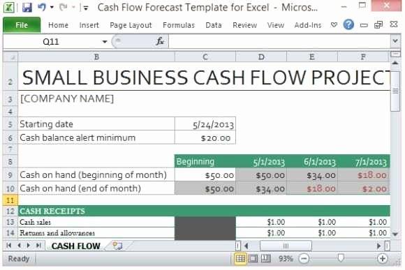 Cash Flow Template Excel Elegant 9 Cash Flow Excel Templates Excel Templates