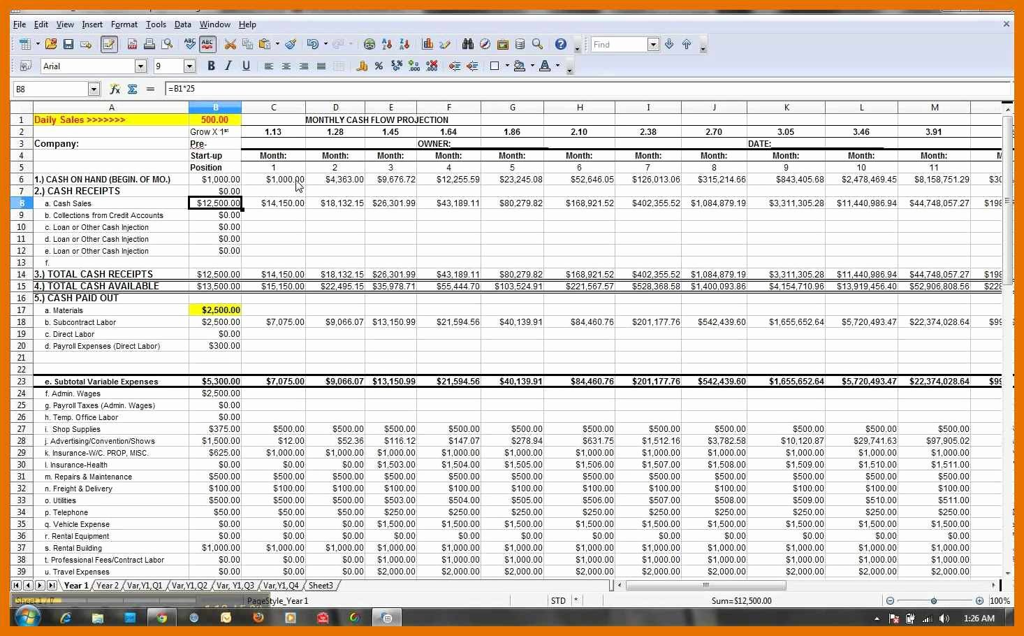 Cash Flow Template Excel New 1 2 Cash Flow Projection Template Excel