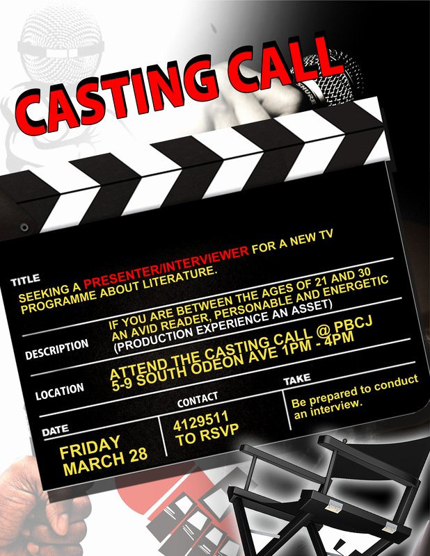 Casting Call Flyer Template Awesome Casting Call March 28 at Pbcj 1 4pm Cariblit Casting Call