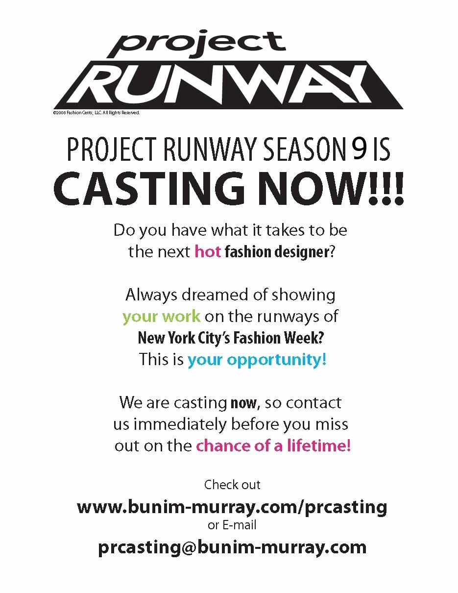 Casting Call Flyer Template Best Of Fashion Design Blog Project Runway Season 9 now Casting
