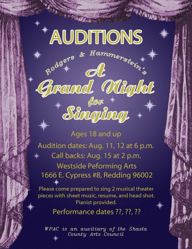 Casting Call Flyer Template Luxury 'a Grand Night for Singing' Auditions – Anewscafe