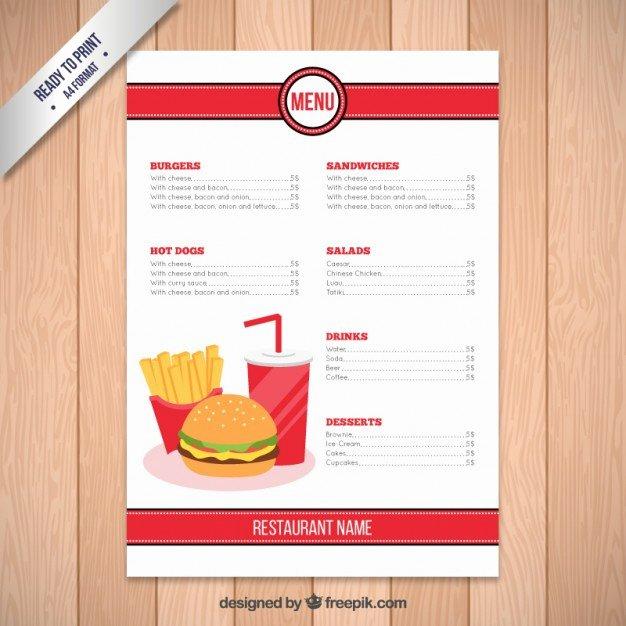 Catering Menu Template Free Beautiful Fast Food Restaurant Menu Template Vector