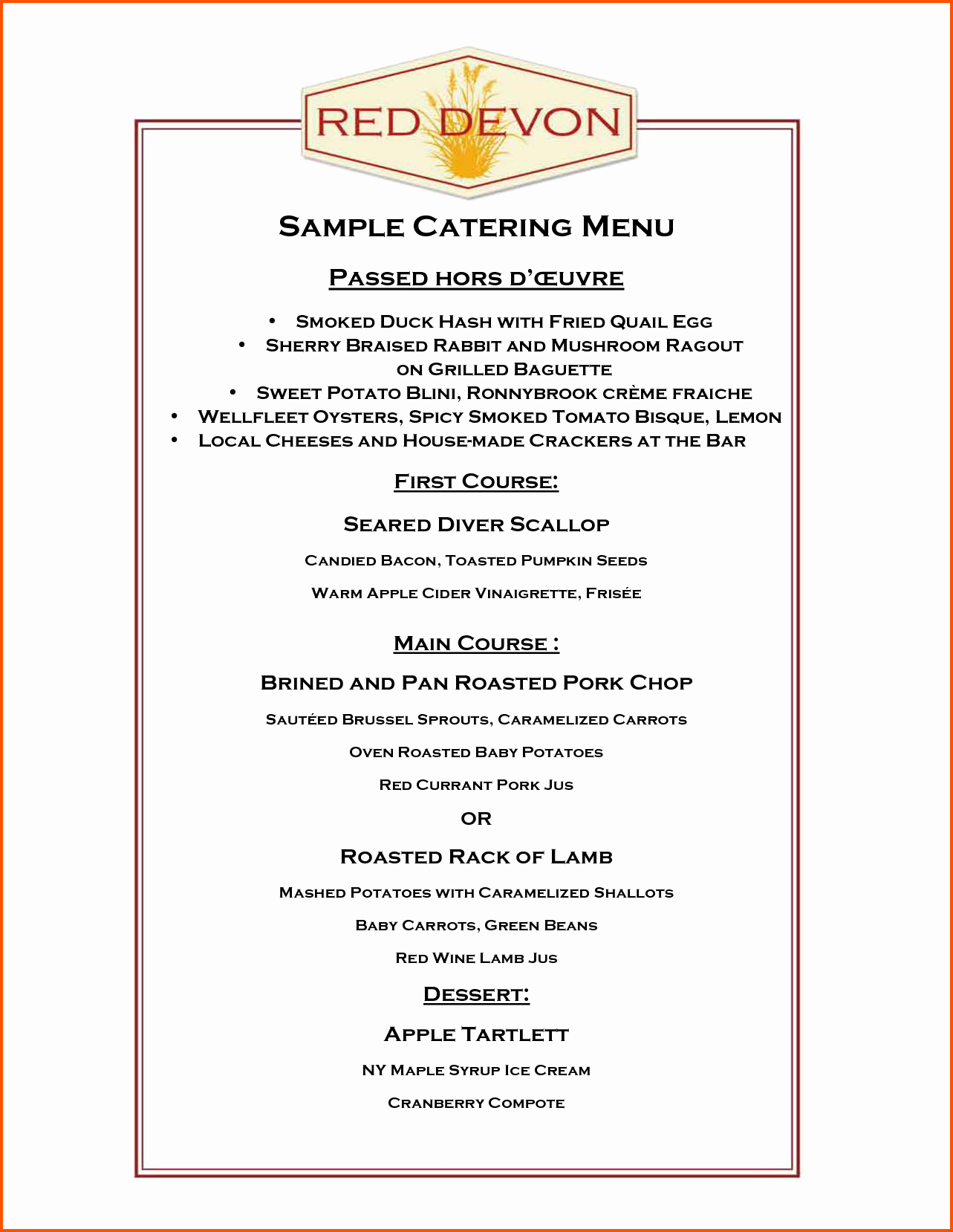 Catering Menu Template Free Best Of Catering Menu Template Free Portablegasgrillweber