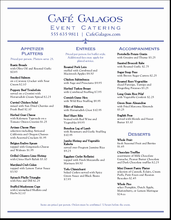 Catering Menu Template Free Elegant Catering Menu Templates that are Easy to Customize