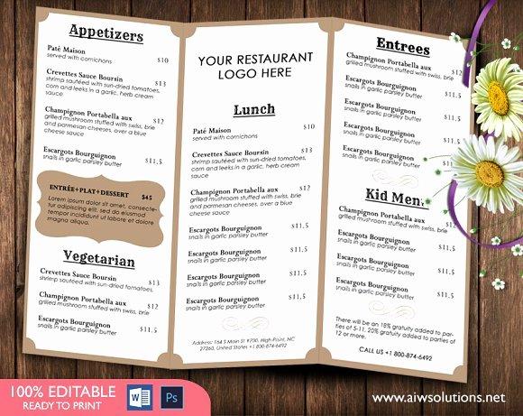 Catering Menu Template Free Inspirational Food Menu Template Brochure Templates Creative Market