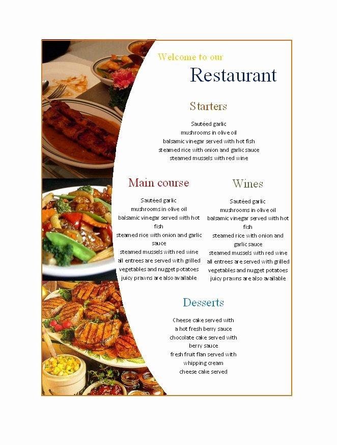 Catering Menu Template Free Luxury 31 Free Restaurant Menu Templates & Designs Free