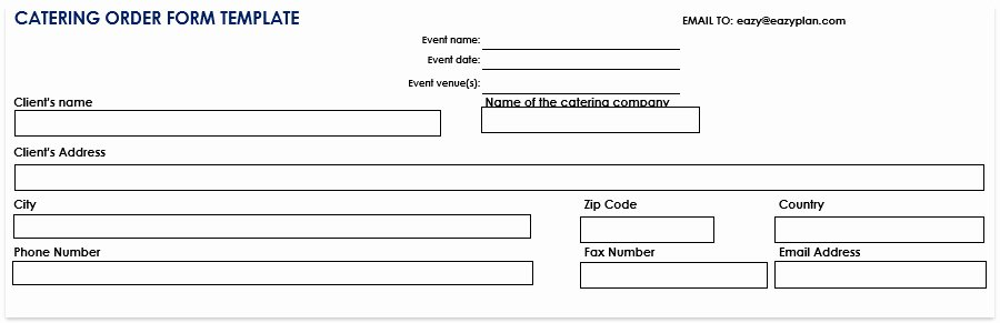 Catering order form Template Awesome Catering order form Template Free Word Pdf