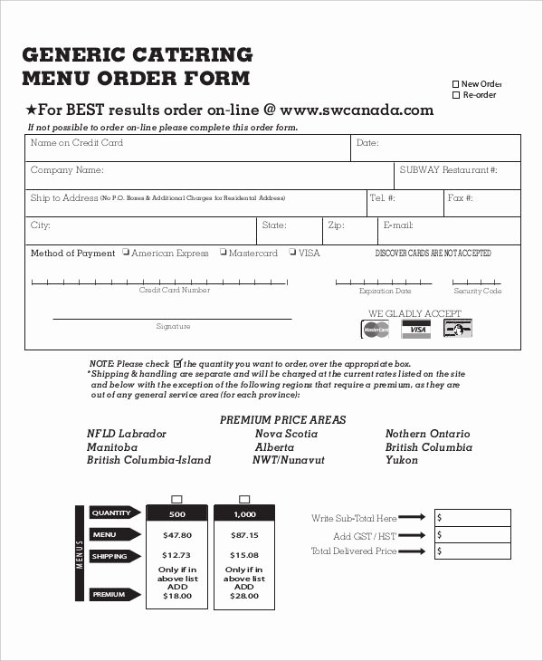 Catering order form Template Fresh 16 Catering order forms Ms Word Numbers Pages