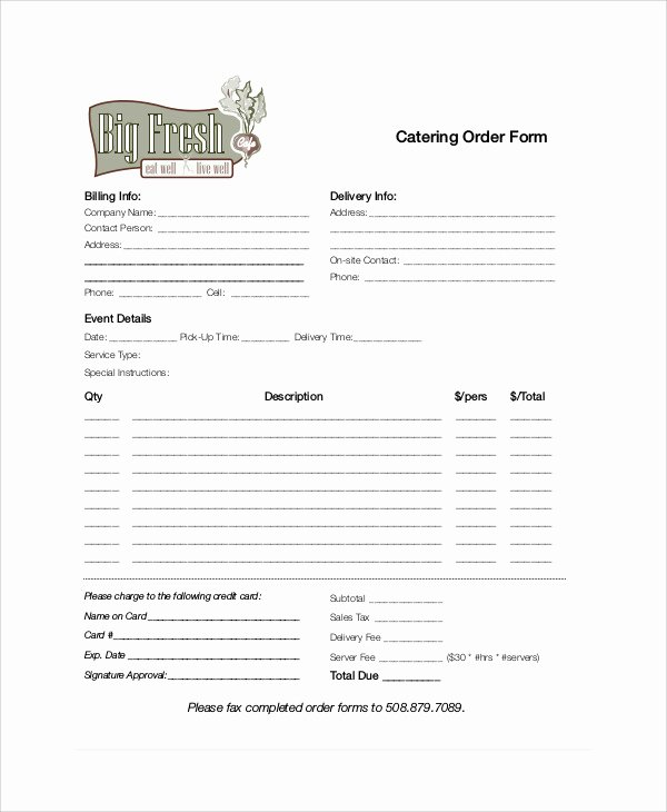 Catering order form Template Inspirational 11 Sample Catering order forms