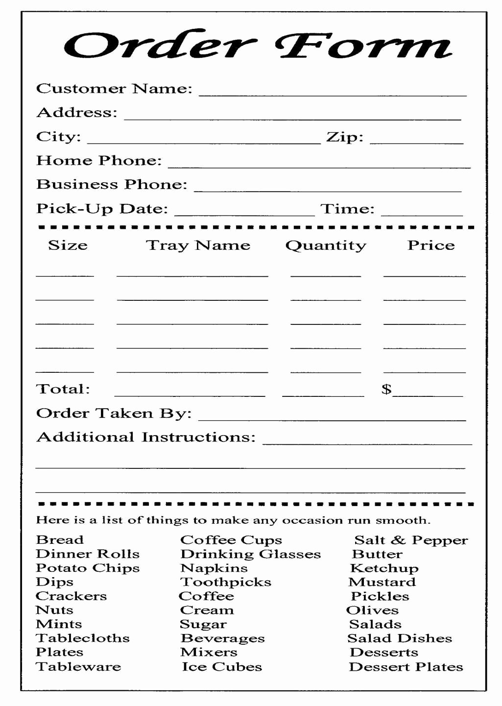 Catering order form Template Inspirational Cake Ball order form Templates Free