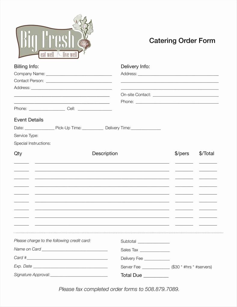 Catering order form Template Lovely 8 Catering order form Free Samples Examples Download