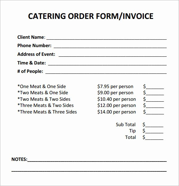 Catering order form Template Lovely Catering Invoice Sample 17 Documents In Pdf Word