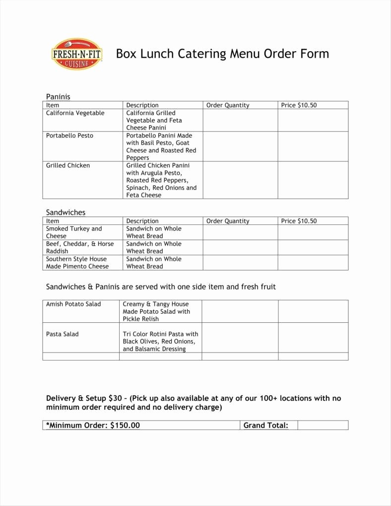 Catering order form Template Luxury 9 Food order form Templates Free Samples Examples