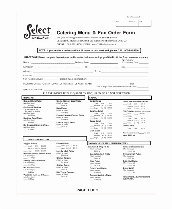 Catering order form Template New 11 Sample Catering order forms