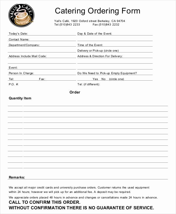Catering order form Template New 16 Catering order forms Ms Word Numbers Pages