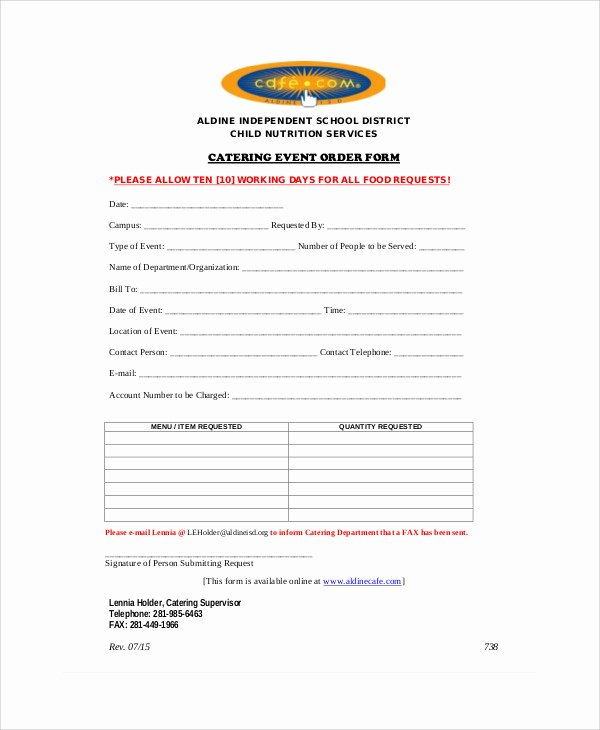 Catering order form Template New 8 Sample event order forms