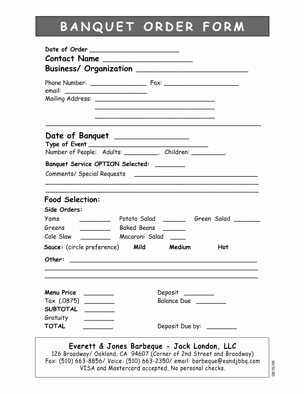 Catering order form Template Unique 15 event orders