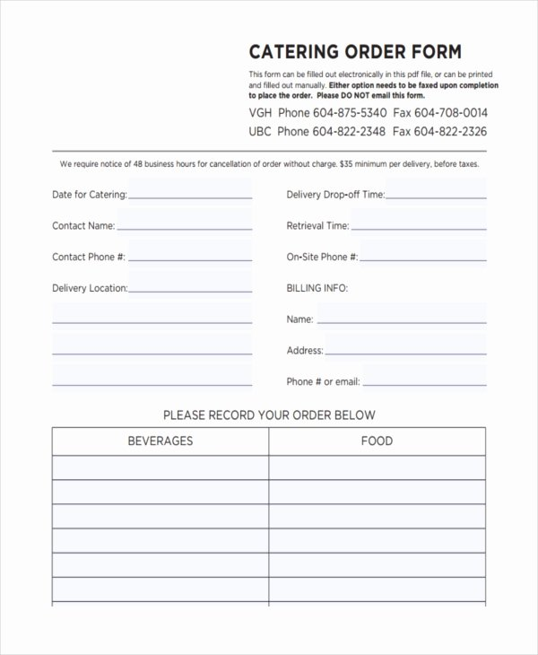 Catering order forms Template Beautiful 36 Free order forms