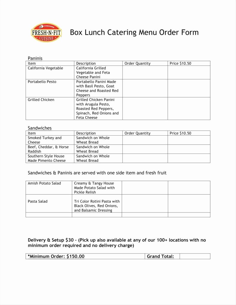 Catering order forms Template Beautiful Catering order form Template Word – Radiofama
