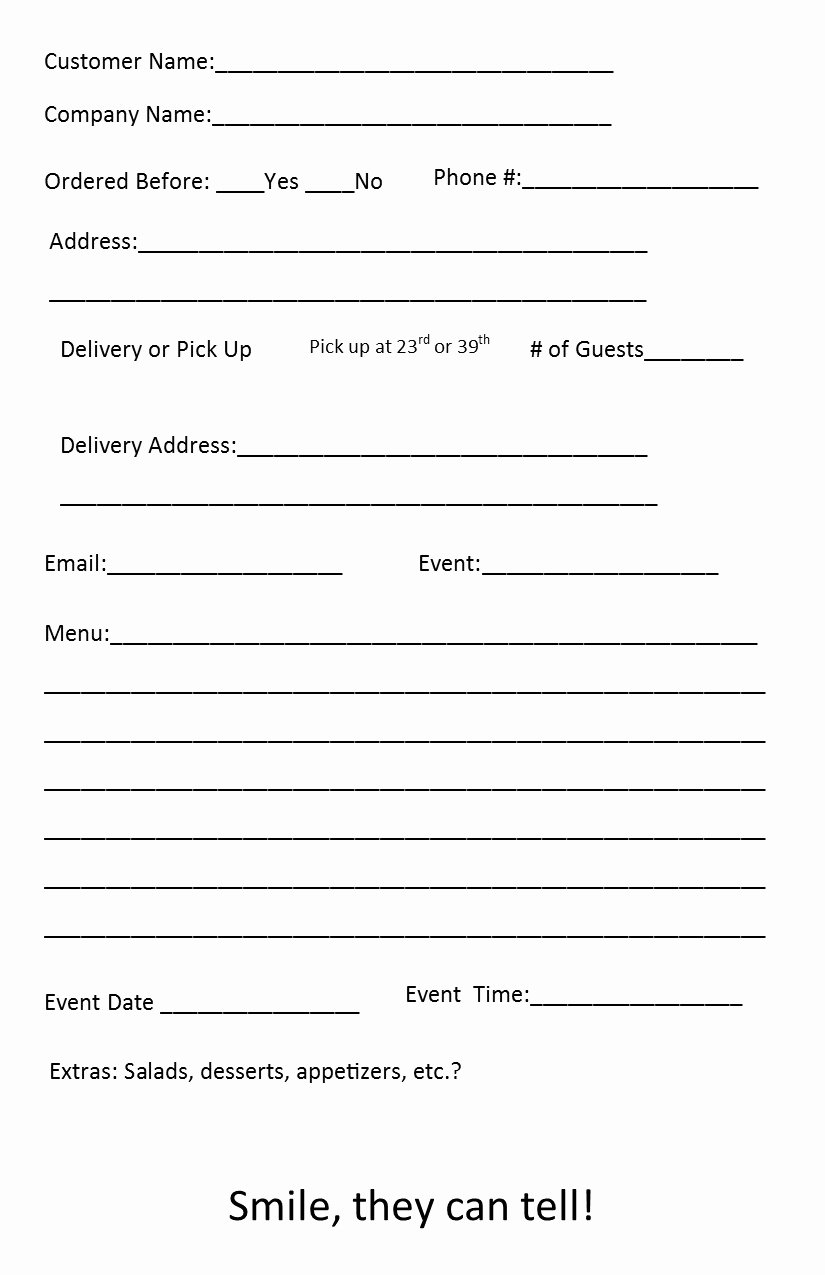 Catering order forms Template Beautiful Free Catering order form Template – Independent Restaurant