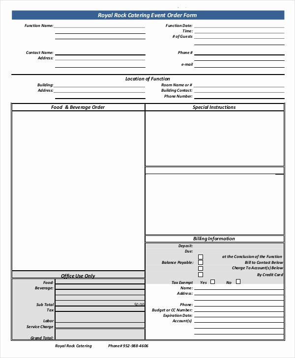 Catering order forms Template Best Of 16 Catering order forms Ms Word Numbers Pages