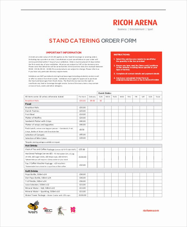 Catering order forms Template Elegant 11 Sample Catering order forms
