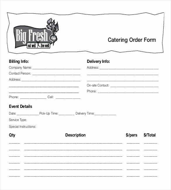 Catering order forms Template Fresh 18 Food order Templates – Docs Word