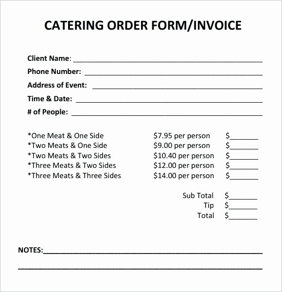 Catering order forms Template Lovely Catering order form Template Word Beautiful Customer